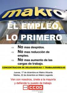 Concentracion CCOO Makro Cartel Metro Spain Movida Diciembre 2009 el empleo lo primero
