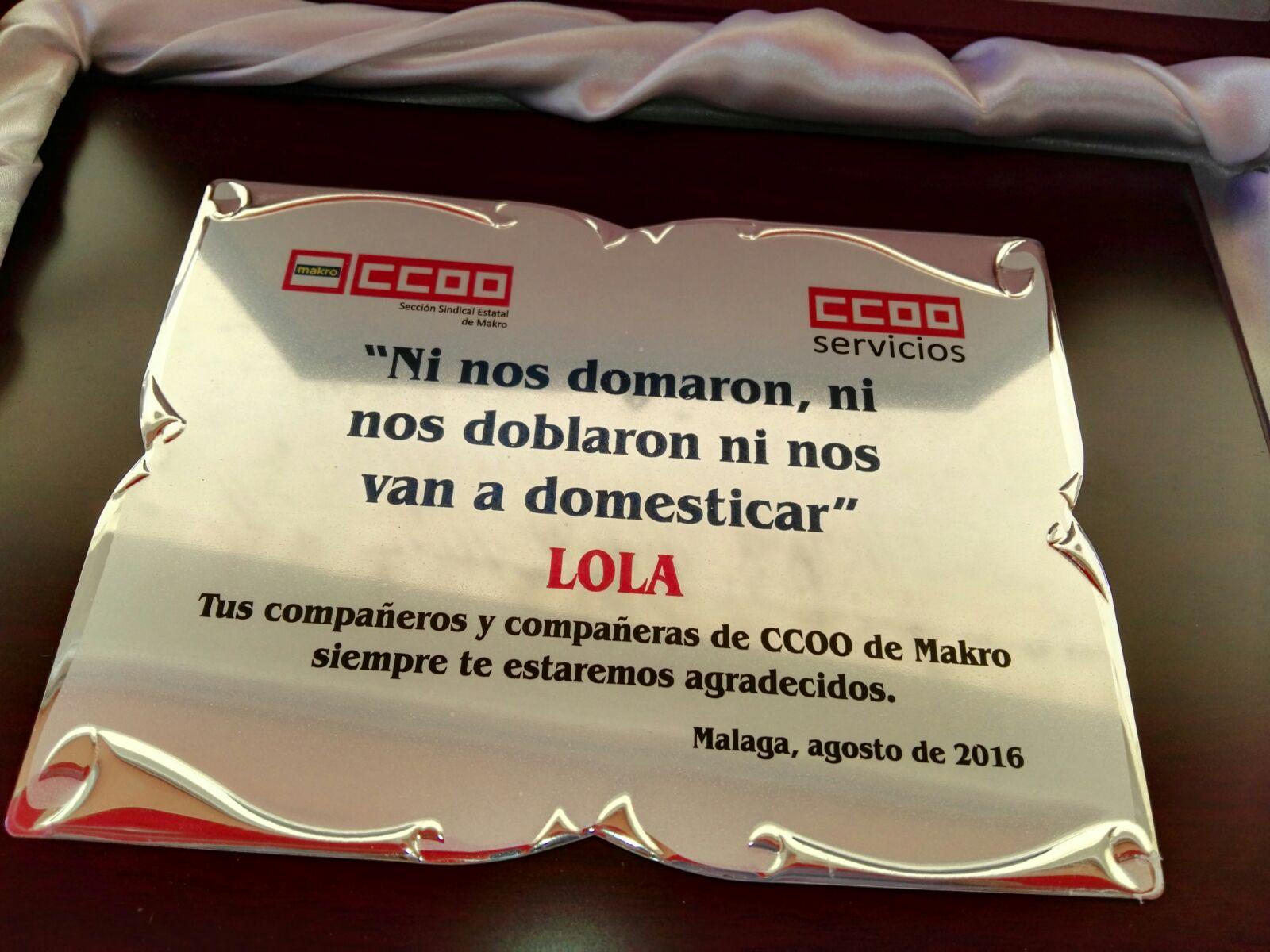 Homenaje de CCOO de Makro a Lola Vicente de Makro Málaga