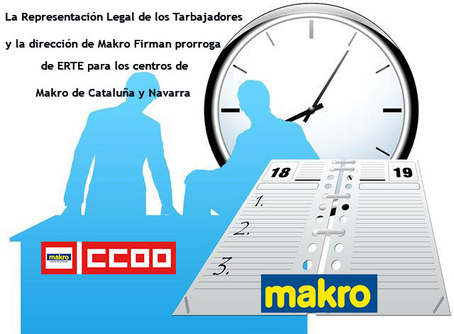 La Representación Legal de los Tarbajadores de Makro y la dirección de Makro Firman prorroga de ERTE en Cataluña y Navarra