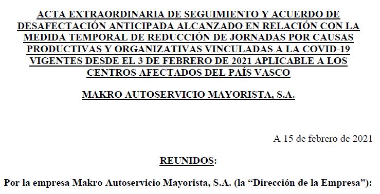 Desafectación ERTE de trabajadores de Makro en País Vasco - Erandio, Vitoria y Oiartzun